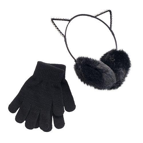 Girls 4-16 SO® Rhinestone Cat Ears Faux-Fur Earmuffs & Gloves Set