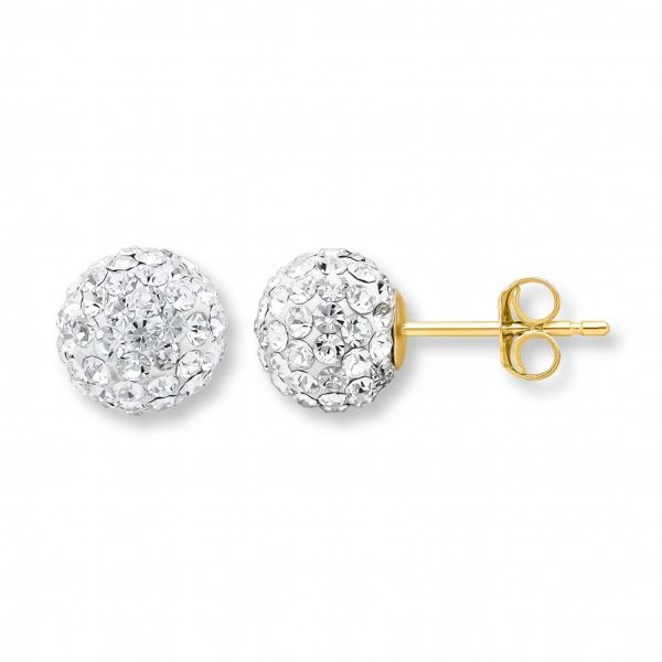 Kay - Sphere Earrings Crystals 14k Yellow Gold