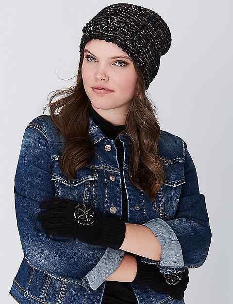 Embellished Rib Knit Hat