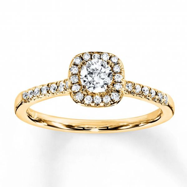 Kay - Diamond Engagement Ring 3/8 Ct Tw Round-cut 10k Yellow Gold