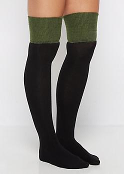 Black Color Block Over-the-knee Socks