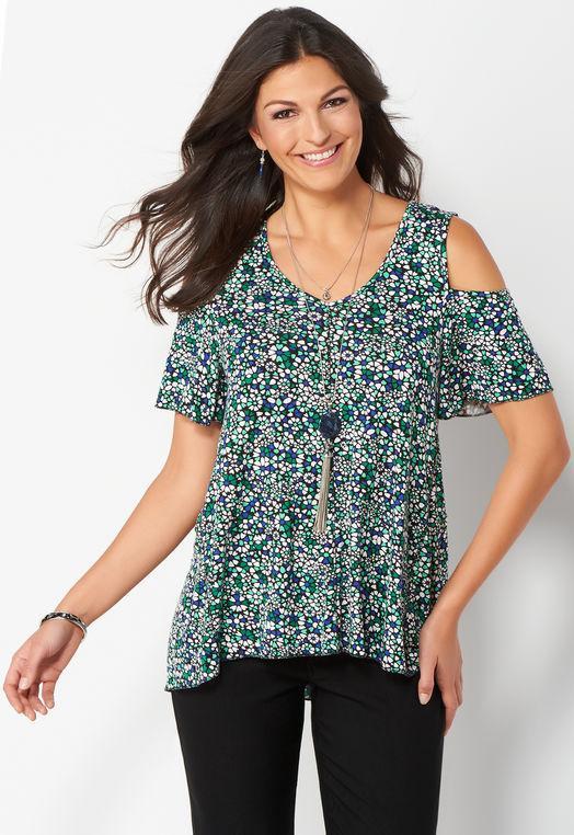 Women's Printed Cold Shoulder Top
