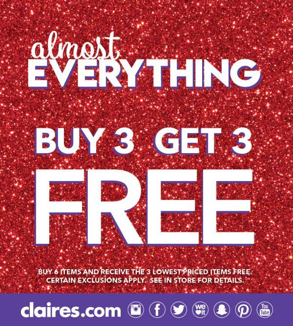 Claire's | Buy 3 Get 3