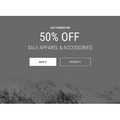 50% Off Sale Apparel & Accessories