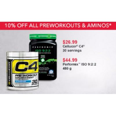 10% Off All Preworkouts & Aminos