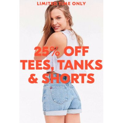 25% Off Tees,Tanks & Shorts