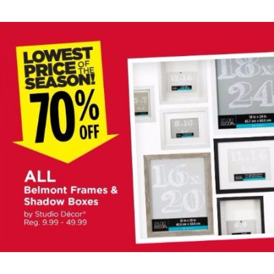 70% Off All Belmont Frames & Shadow Boxes