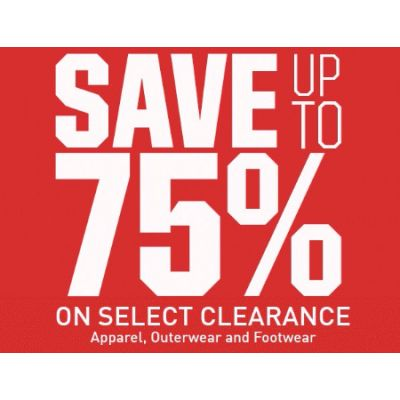 Up to 75% Off Select Clearance Apparel, Outerwear & Footwear