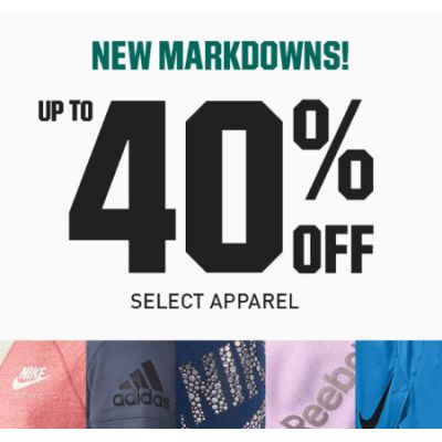 Up to 40% Off Select Apparel