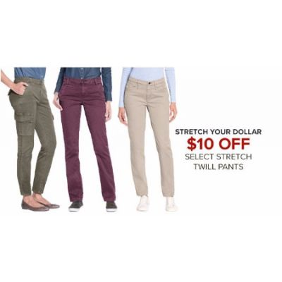 $10 Off Select Stretch Twill Pants
