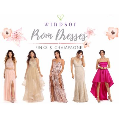 Shop Pink and Champagne colored Prom dresses!