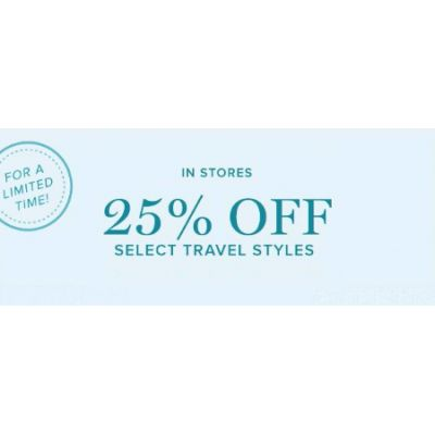 25% Off Select Travel Styles