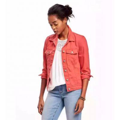 Pop-Color Denim Jacket for Women