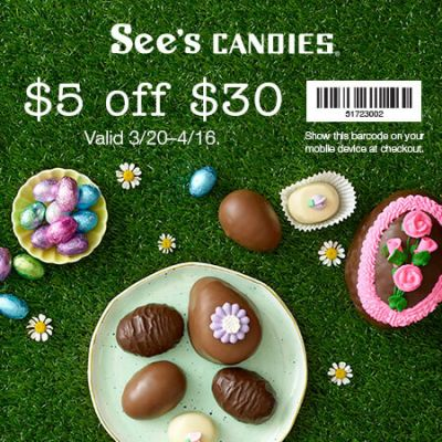 Visit See's for $5 off $30*