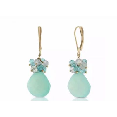 Multi-Gem & Apatite Earrings 14K