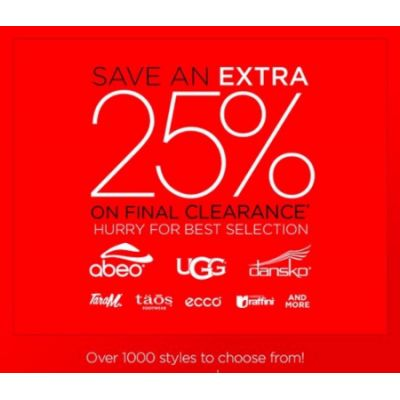 Extra 25% Off Final Clearance