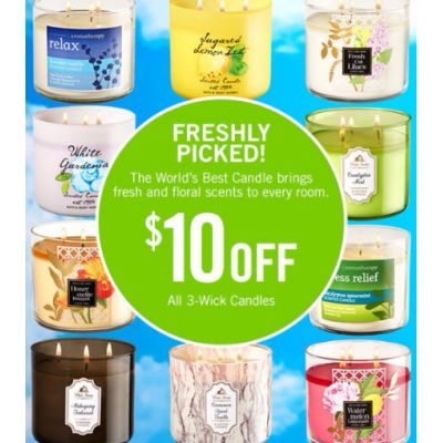 $10 Off All 3-Wick Candles