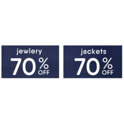 70% Off Jewelry & Outerwear