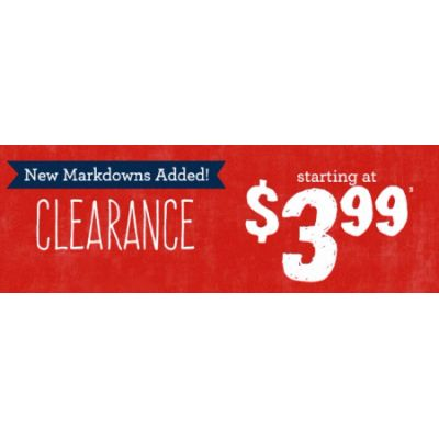 Clearance Starting at $3.99