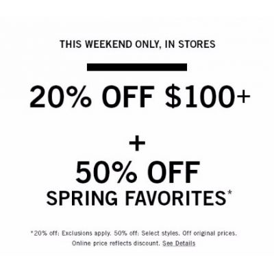 20% Off Purchases of $100 or More
