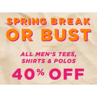 All Men's Tees, Shirts & Polos 40% Off