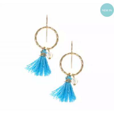 Mini Blue and Gold Tassel Hoop Drop Earrings