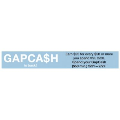 Earn $25 GapCash For Every $50 You Spend