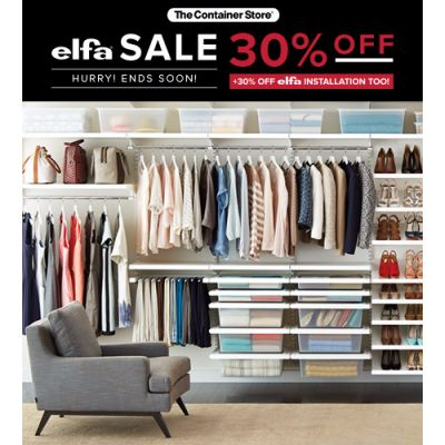 Hurry! 30% off elfa ' elfa Installation ends SOON!