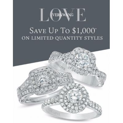 Save up to $1,000 on Limited Quantity Vera Wang Love Styles