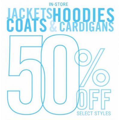 50% Off Jackets, Hoodies, Coats & Cardigans