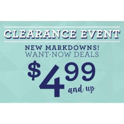 Clearance Event $4.99 and Up